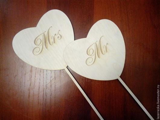 Свадебные аксессуары ручной работы. Ярмарка Мастеров - ручная работа. Купить MR & MRS - табличка. Handmade. Бежевый
