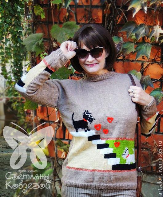 """Кофты и свитера ручной работы. Ярмарка Мастеров - ручная работа. Купить Джемпер """"Сладкая парочка"""". Handmade. Разноцветный, теплый свитер"""