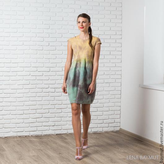 """Платья ручной работы. Ярмарка Мастеров - ручная работа. Купить Валяное платье-баллон """"Rust"""". Handmade. Разноцветный, светло бирюзовый"""