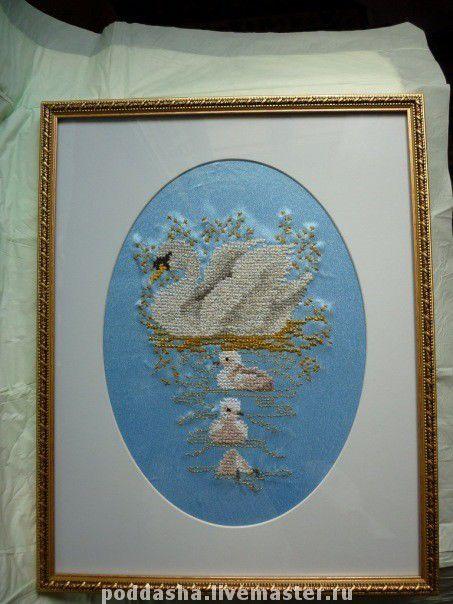 Экстерьер и дача ручной работы. Ярмарка Мастеров - ручная работа. Купить лебеди - вышиитая крестом картина. Handmade.