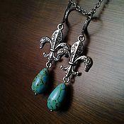"""Украшения ручной работы. Ярмарка Мастеров - ручная работа Серьги """"Королевская лилия"""" с зеленой бирюзой. Handmade."""