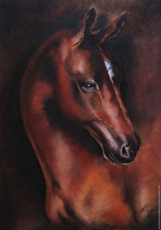 Животные ручной работы. Ярмарка Мастеров - ручная работа. Купить Картина маслом Темная лошадка. Handmade. Коричневый, лошадь