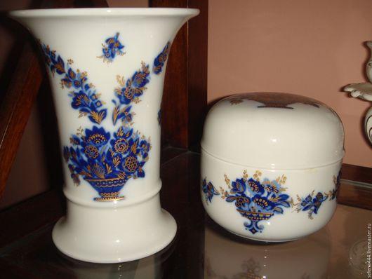 Винтажные предметы интерьера. Ярмарка Мастеров - ручная работа. Купить ваза и шкатулка HEINRICH Германия. Handmade. Комбинированный, кобальт