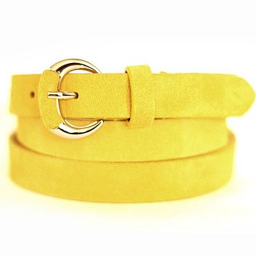 Accessories. Livemaster - original item Copy of Bright yellow suede belt. Handmade.