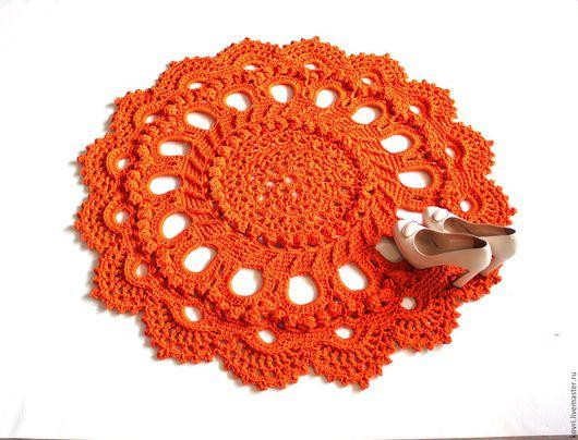 Текстиль, ковры ручной работы. Ярмарка Мастеров - ручная работа. Купить Вязаный ковер Оранжевое настроение. Handmade. Оранжевый, детям