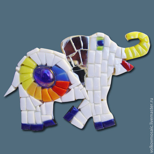 Новый год 2017 ручной работы. Ярмарка Мастеров - ручная работа. Купить Смальта-пазл «магнит мозаика Счастливый слон». Handmade.