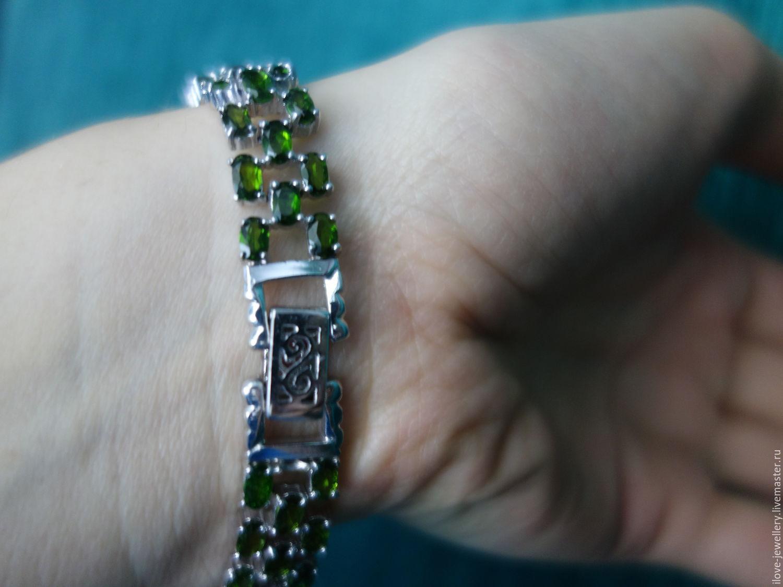 """""""Vizavi""""-шикарный серебряный браслет с хромдиопсидами"""