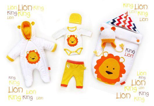 """Для новорожденных, ручной работы. Ярмарка Мастеров - ручная работа. Купить Комплект на выписку """"Лев"""". Handmade. Комплект на выписку, для новорожденных"""