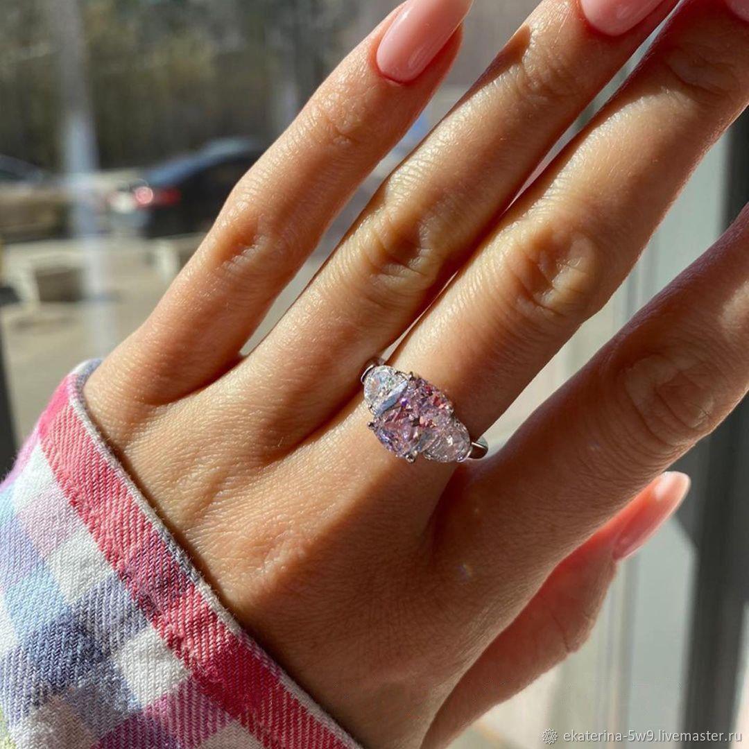 Нежнейшее серебряное кольцо с розовым фианитом, Кольца, Казань,  Фото №1