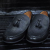 Обувь ручной работы handmade. Livemaster - original item Men`s moccasins, Python leather, genuine leather, black color.. Handmade.