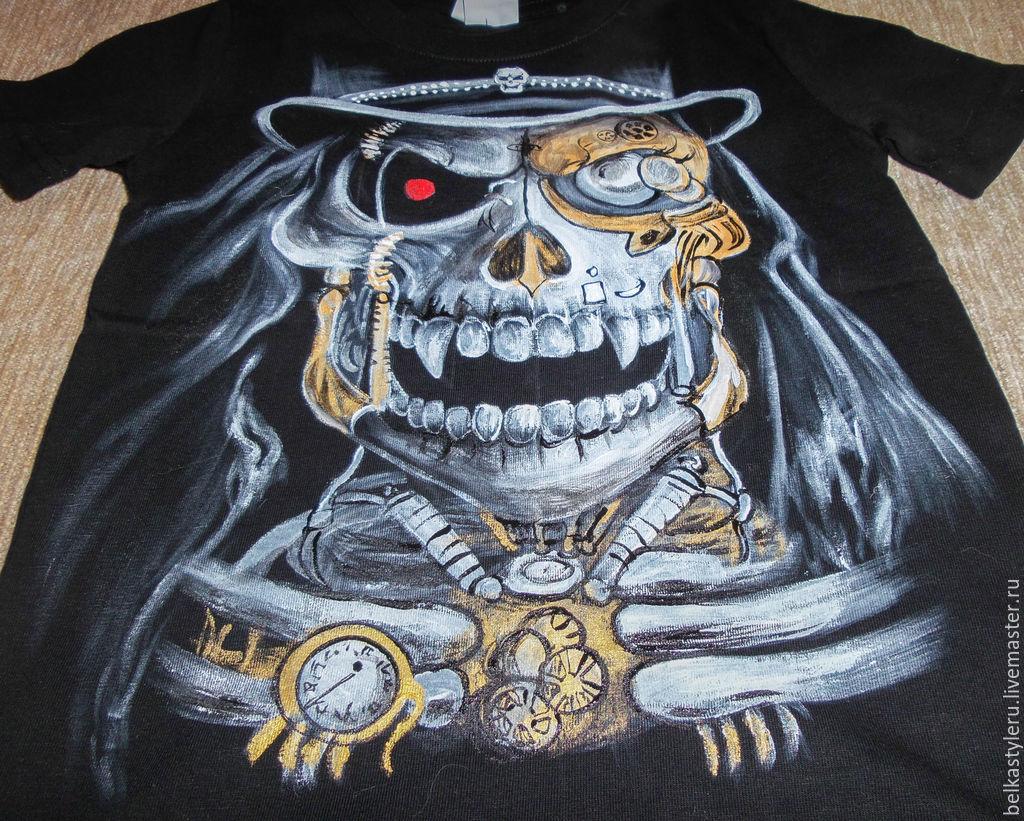 T-shirt design handmade - Steampunk Handmade Order T Shirt Hand Painted Skull Steampunk Belkastyle Handmade And