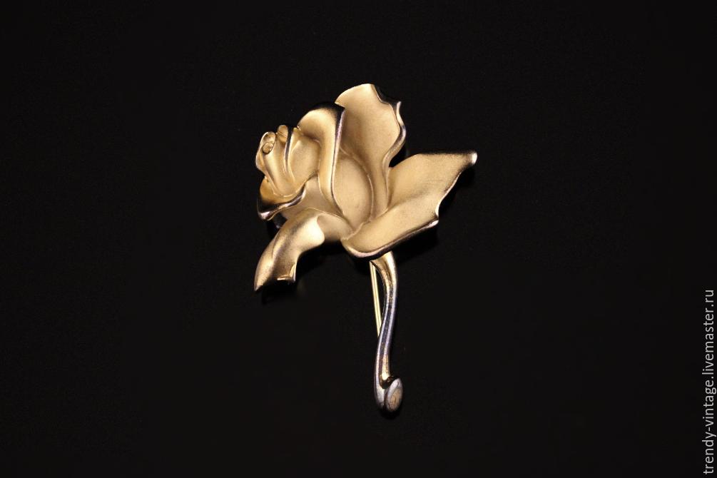 """Винтажные украшения. Ярмарка Мастеров - ручная работа. Купить Винтаж: Роскошная брошь """"Золотая роза"""" от Napier. Handmade. Ретро, винтаж"""
