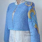 Одежда ручной работы. Ярмарка Мастеров - ручная работа Вязаный кардиган в нежно-голубых тонах. Handmade.