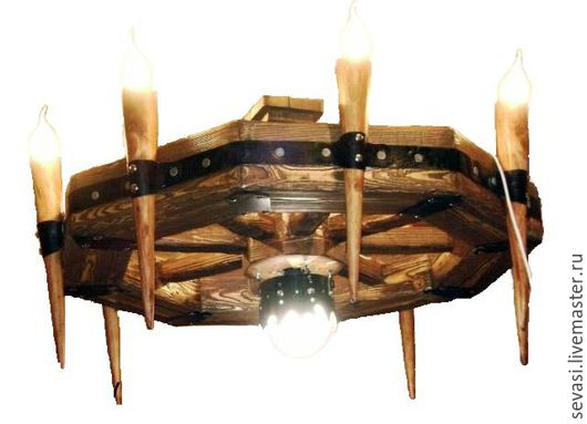 Освещение ручной работы. Ярмарка Мастеров - ручная работа. Купить люстра под старину с факелами. Handmade. Коричневый, люстра, лампочки