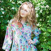 Одежда handmade. Livemaster - original item Novelty - t-shirt Dress with ruffles - Print flower fields. Handmade.