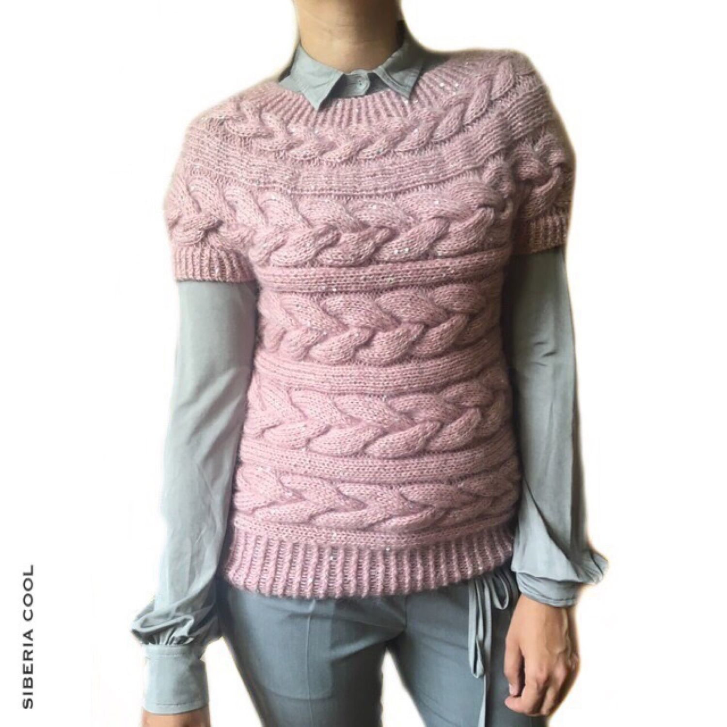 Vest women's Dusty rose, knitted spokes, sequins, kid mohair, Vests, Voronezh,  Фото №1