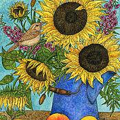 Картины и панно handmade. Livemaster - original item Bouquet of sunflowers the Joy of life. The big picture watercolor. Handmade.