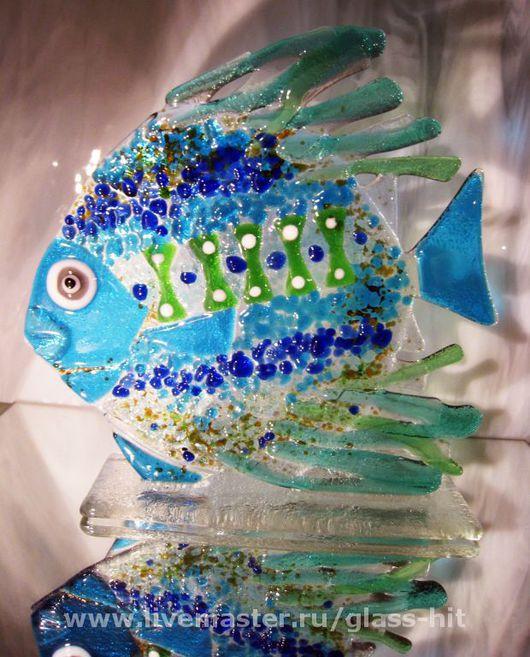 Игрушки животные, ручной работы. Ярмарка Мастеров - ручная работа. Купить Рыбка на подставке (стекло).. Handmade. Стекло цветное, стекло