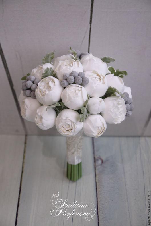 Свадебные цветы ручной работы. Ярмарка Мастеров - ручная работа. Купить Букет Белоснежный пион. Handmade. Белый, серый, проволока