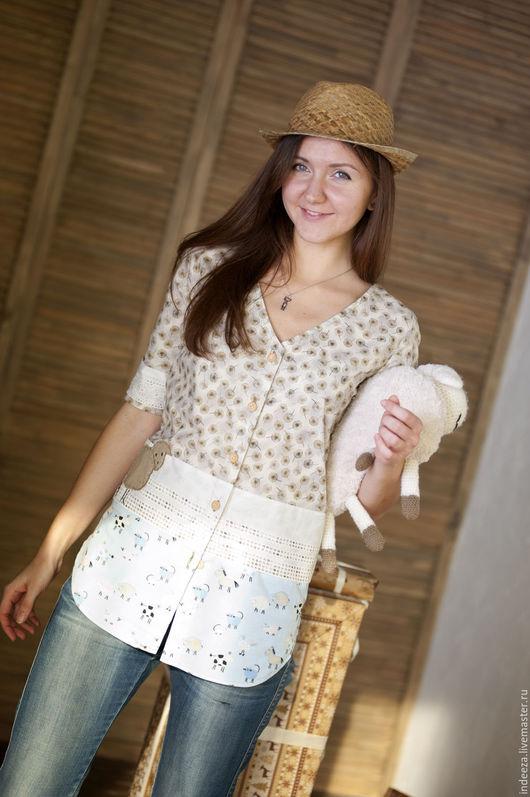 """Блузки ручной работы. Ярмарка Мастеров - ручная работа. Купить Рубашка """"Кантри"""". Handmade. Комбинированный, хлопок 100%"""
