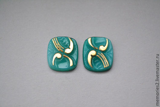 Для украшений ручной работы. Ярмарка Мастеров - ручная работа. Купить Винтажные кабошоны 16х14 мм цвет Green and gold. Handmade.