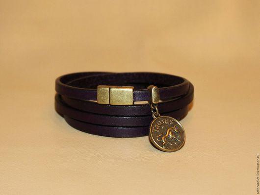 Браслеты ручной работы. Ярмарка Мастеров - ручная работа. Купить Кожаный браслет из кожи фиолетовой подвеска знаки зодиака. Handmade.