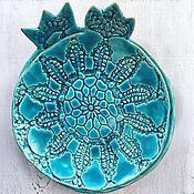 Посуда ручной работы. Ярмарка Мастеров - ручная работа Бирюзовые керамические тарелки-гранаты. Handmade.