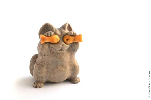Миниатюрные модели ручной работы. Ярмарка Мастеров - ручная работа. Купить Кот шутник из камня. Handmade. Коричневый, котик, подарок