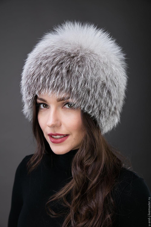 41cc2746a845 Меховая шапка Шарик(blue frost) – купить в интернет-магазине на Ярмарке  Мастеров с ...
