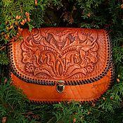 Сумка через плечо ручной работы. Ярмарка Мастеров - ручная работа Оранжевая сумка через плечо. Handmade.