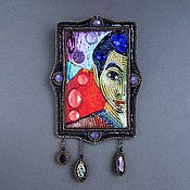 Украшения handmade. Livemaster - original item Brooch DEDICATION HENRI MATISSE beads, beat, thread, GIMP, swarovski. Handmade.