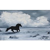 Картины и панно handmade. Livemaster - original item Oil painting Horse Abstract landscape. Handmade.