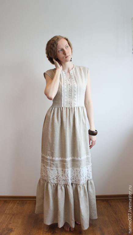 """Платья ручной работы. Ярмарка Мастеров - ручная работа. Купить Платье в стиле бохо """"Утреннее"""". Handmade. Серый, платье"""