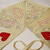 Для дома и интерьера ручной работы. Ярмарка Мастеров - ручная работа LOVE, текстильная гирлянда. Handmade.