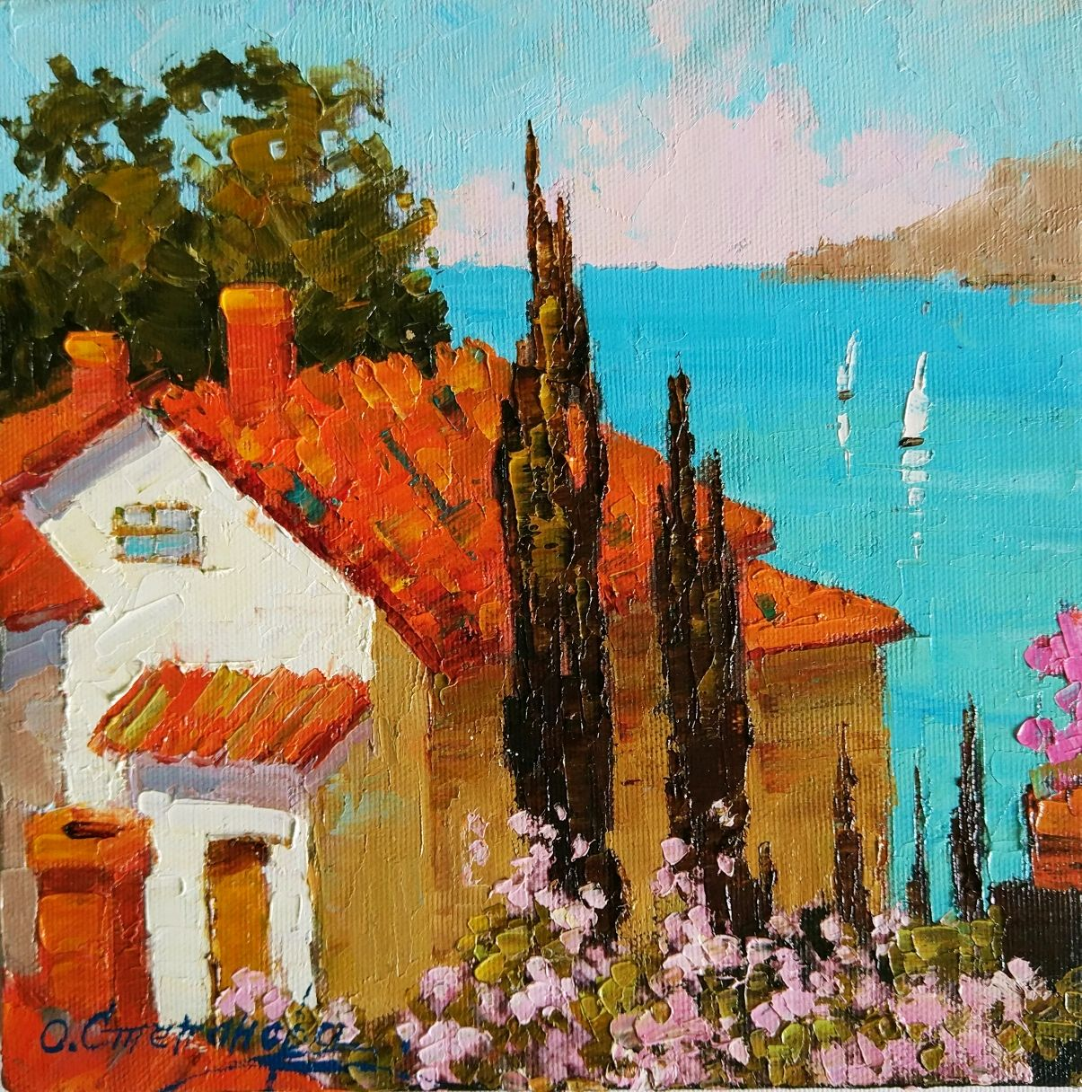 The painting 'overlooking the sea', oil on canvas, Pictures, Sevastopol,  Фото №1