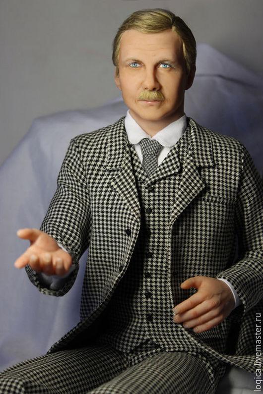 Портретные куклы ручной работы. Ярмарка Мастеров - ручная работа. Купить Доктор Ватсон. Handmade. Чёрно-белый, Доктор Ватсон