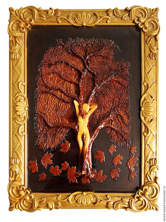 """Фантазийные сюжеты ручной работы. Ярмарка Мастеров - ручная работа. Купить Резная картина """"ЛЕСНОЙ ПЛЕН"""" из натурального дерева (ольха). Handmade."""