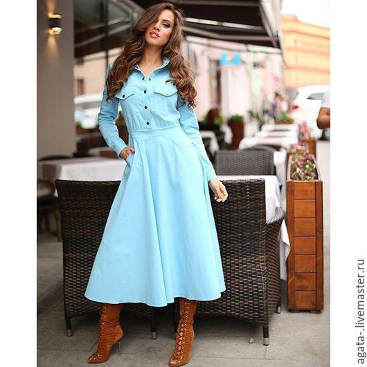 Платья ручной работы. Ярмарка Мастеров - ручная работа. Купить платье джинсовое. Handmade. Голубой, однотонный, джинсовый стиль