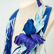 Украшения handmade. Livemaster - original item Necklace-brooch made of leather, Blue iris. The author`s the decoration of leather. Handmade.