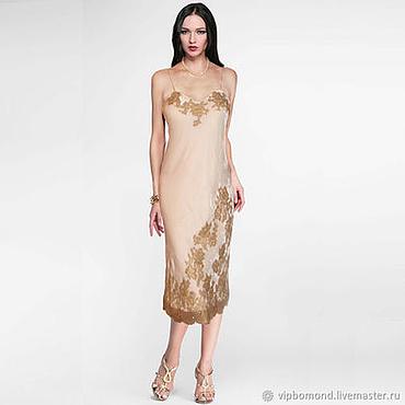 Одежда ручной работы. Ярмарка Мастеров - ручная работа Платье-комбинация из бархата на натуральном шелке с роскошной вышивкой. Handmade.
