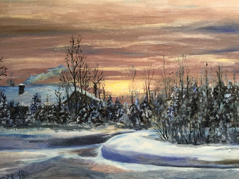 Зимним вечером в деревне, Картины, Москва,  Фото №1