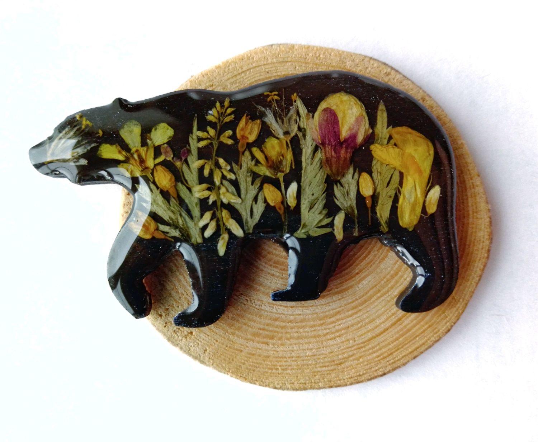 Брошь Медведь с разнотравьем, Брошь-зажим, Петрозаводск,  Фото №1