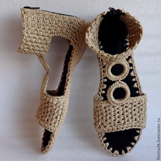 Обувь ручной работы. Ярмарка Мастеров - ручная работа. Купить Сандалии  вязаные Зорис , бежевый, бохо, , лен, р.35-36. Handmade.