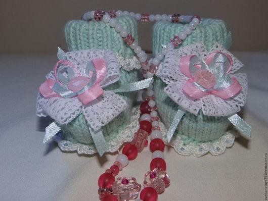 Пинетки вязаные  с бантиками Теплый подарок малышке, пинетки вязаные, пинетки для девочки, пинетки для малыша, пинетки в подарок,, пинетки в подарок, теплый подарок маме, на выписку из роддома,