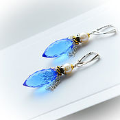 Украшения handmade. Livemaster - original item Earrings with swiss Topaz and pearls in 925 silver. Handmade.