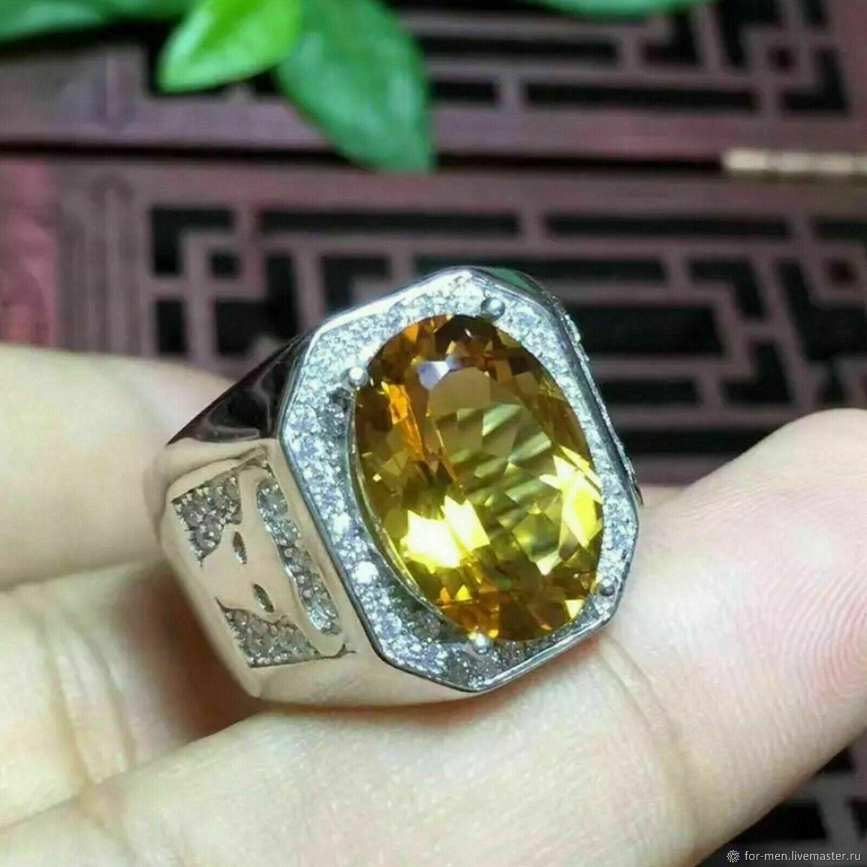 Большой золотистый цитрин в серебре, Перстень, Москва,  Фото №1