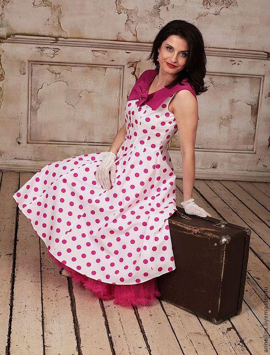 """Платья ручной работы. Ярмарка Мастеров - ручная работа. Купить Ретро платье в горошек """"Малиновый цвет"""". Handmade. В горох"""