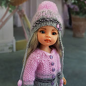Куклы и игрушки handmade. Livemaster - original item Clothes for Paola Reina dolls.Pink and grey set.Hat and jacket.. Handmade.