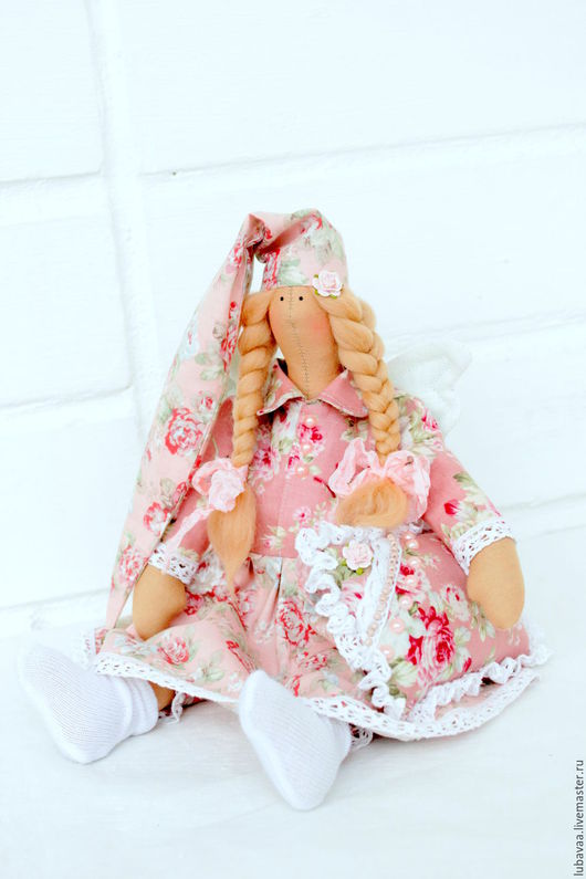 """Куклы Тильды ручной работы. Ярмарка Мастеров - ручная работа. Купить Текстильная кукла """"Сонный ангел"""". Handmade. Бледно-розовый"""