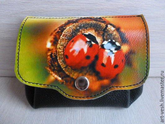 Кожаный кошелечек Божьи коровки. Подарок на 8 марта.